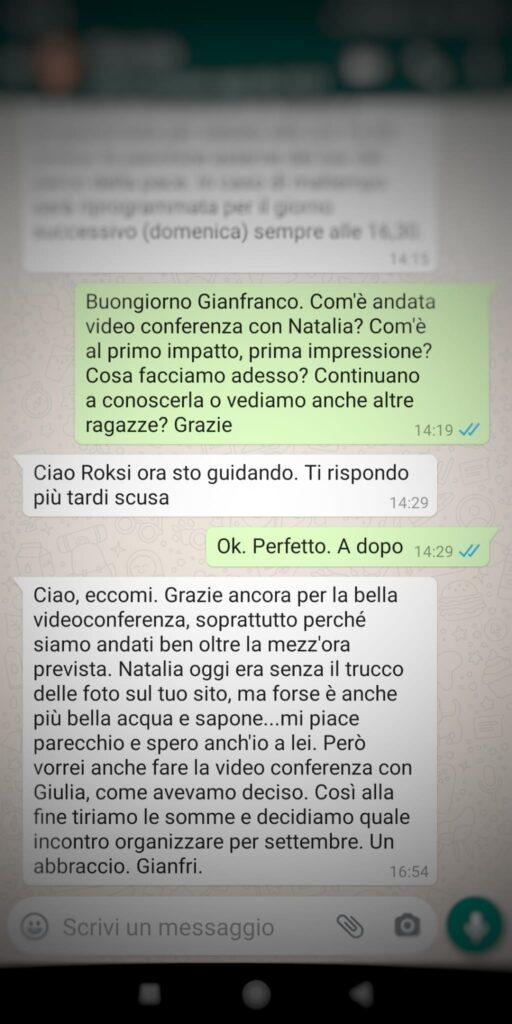 agenzia matrimoniale whatsapp gianfranco